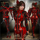 {AS} Battle Angel Fitted Mesh Outfit: Red Black; Guardian Angel, Fairy, Warrior, Valkyrie, Bento Wings, Maitreya