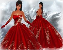 !BH~ Christmas Elegant Lady in Red Gown