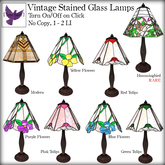 [ free bird ] Stained Glass Lamp - Green Tulips