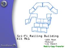 [MB3] Sci-Fi Railing Building Kit Mk1