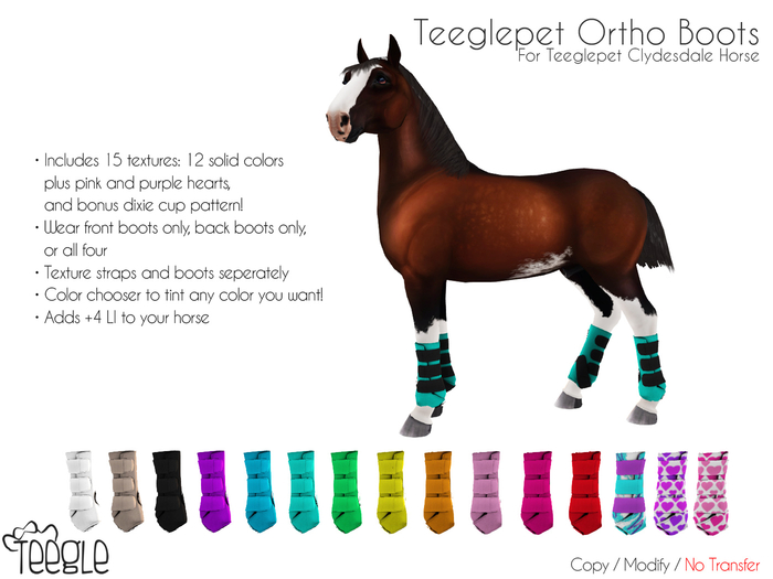 [Teegle] Ortho Boots for Teeglepet Clydesdale Horse