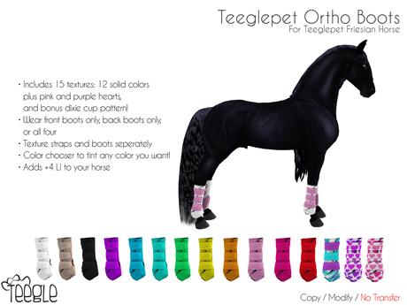 [Teegle] Ortho Boots for Teeglepet Friesian Horse