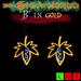 """""""B"""" of silver in golden leaf earrings"""