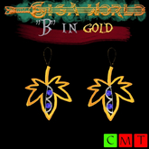 """B"" of silver in golden leaf earrings"