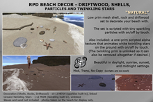 RPD Beach Deco NATURAL Driftwood, Shells, rocks, particles and twinkling stars