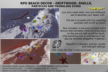 RPD Beach Deco FANTASY Driftwood, Shells, rocks, particles and twinkling stars