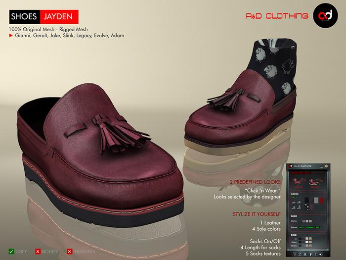 A&D Clothing - Shoes -Jayden- Burgundy
