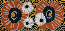 ADD Rug or Wall Hanging 3 White, Brown and Black flower