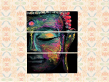Split Canvas Wall Art Alpha Decal, Modern Buddha, Hanging Home Decor, Copy/Mod 1 prim, image 2 sides, Easy Edit Resize!