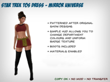 [S2S] Star Trek Dress (TOS Mirror Universe) - for Maitreya, Belleza,  Slink, SelinA, and Classic Bodies