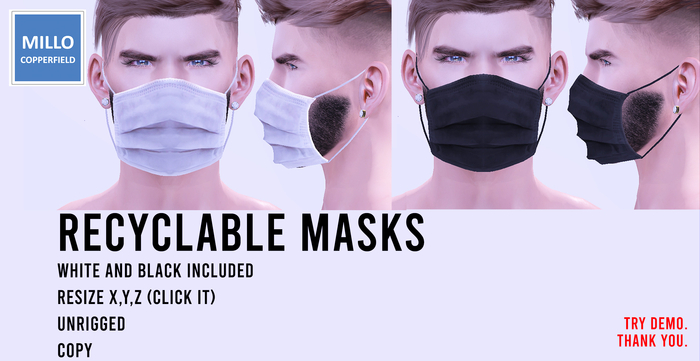 Millo Copperfield - Recyclable Masks White and Black with Resize, Unrigged