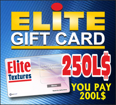 ELITE GIFT CARD 250 (REZ TO ACTIVATE) DISCOUNT 20%