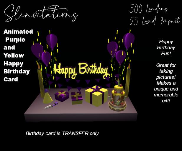 Slinvitations Animated Purple and Yellow Happy Birthday Card