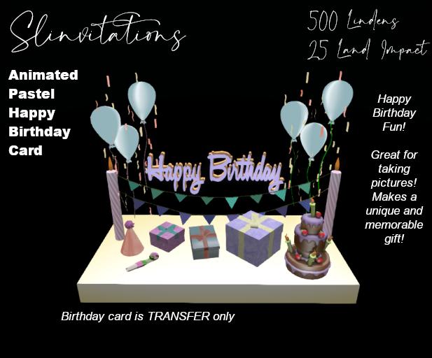 Slinvitations Animated Pastel Happy Birthday Card