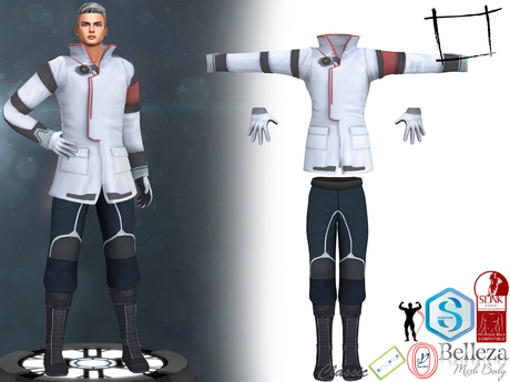 Full Perm Sci-fi Scientist Doctor Officer Full Uniform Jacket Gloves Pants Boots Belleza Jake, Signature Gianni, Slink