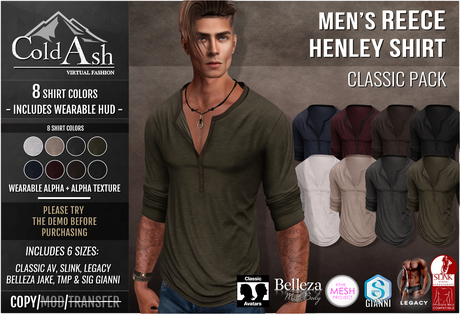 {COLD-ASH} Mens MESH REECE Henley Shirt (CLASSIC PACK)