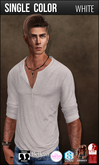 {COLD-ASH} Mens MESH REECE Henley Shirt (WHITE)
