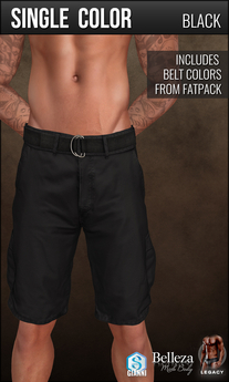 {COLD-ASH} Mens HURST Cargo Shorts (SingleColor-Black)
