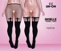 uh-oh: {Black} Giselle Cross Fishnets with BOM & Omega
