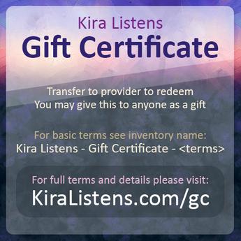 Kira Listens - Gift Certificate - 1 hour