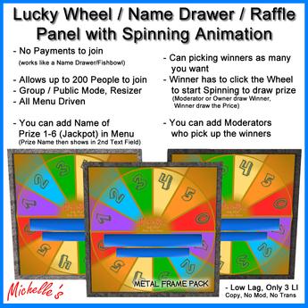 Lucky Wheel - Name Drawer Panel (Metal Frame Pack)