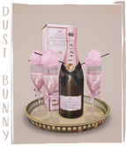 dust bunny . tray of champagne . boxed