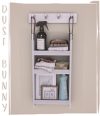 dust bunny . laundry room clutter . wall organizer
