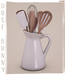 dust bunny . kitchen clutter . utensil pitcher . boxed