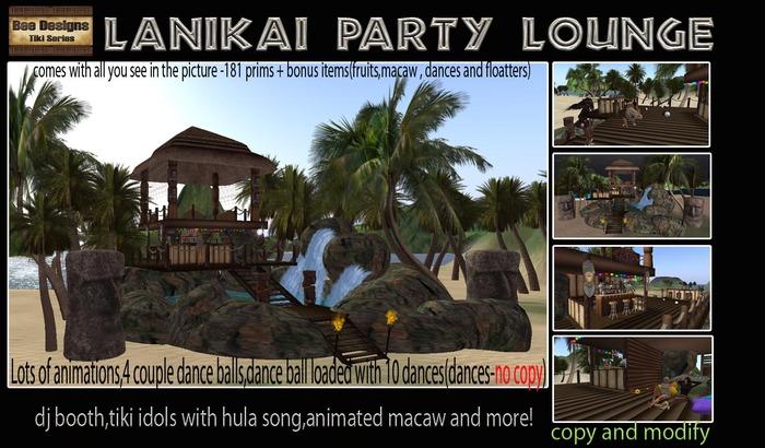 Second Life Marketplace Promo 1200 L Off Lanikai Party Lounge Tiki Club Tiki Bar Tiki Party Tiki Hut