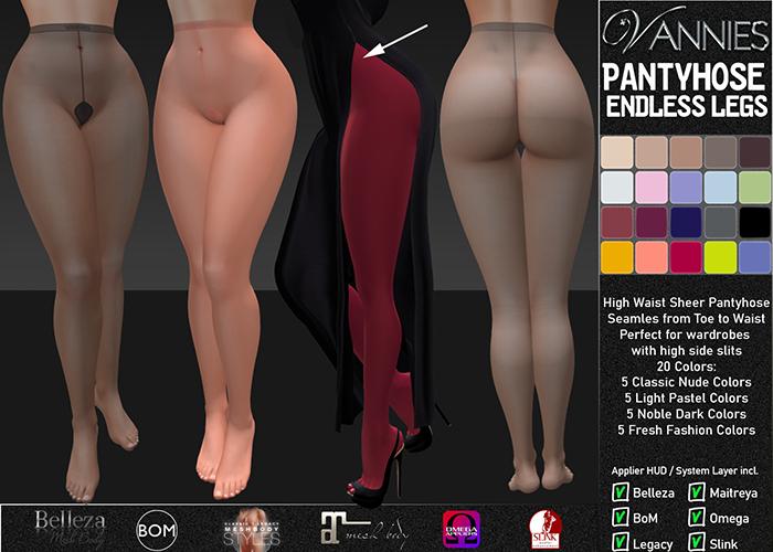 [VANNIES] Pantyhose Endless Legs Sheer FATPACK (Applier HUD + BoM) Belleza, Legacy, Maitreya, Slink, Omega + Classic Av