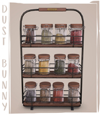 dust bunny . kitchen clutter . spice rack . boxed