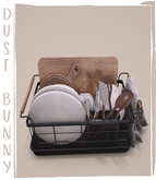 dust bunny . kitchen clutter . dish drying rack . boxed