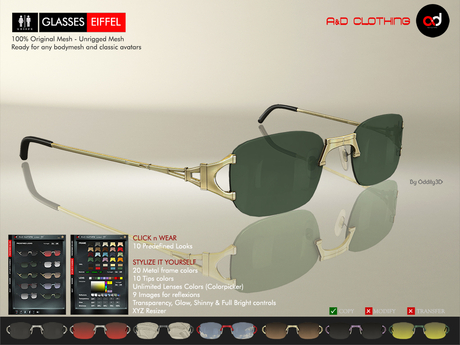 A&D Clothing - Glasses -Eiffel-  Deluxe