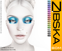 Zibska BOM Pack ~ Lune Makeup in 18 colors with tattoo and universal tattoo BOM layers