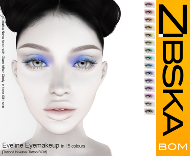 Zibska BOM Pack ~ Eveline Eyemakeup in 15 colors with tattoo and universal tattoo BOM layers