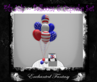 Happy 4th July ~ Balloons & Cupcake Set ~ White