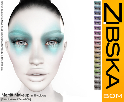 Zibska BOM Pack ~ Merritt Makeup in 18 colors with tattoo and universal tattoo BOM layers