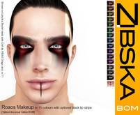 Zibska BOM Pack ~ Roaos Makeup in 15 colors with optional black lip stripe in tattoo and universal tattoo BOM layers