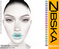 Zibska BOM Pack ~ Merritt Lips in 21 colors with tattoo and universal tattoo BOM layers