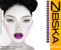 Zibska BOM Pack ~ Sisel Lips in 18 colors with 2 fits in tattoo and universal tattoo BOM layers