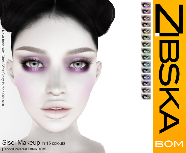 Zibska BOM Pack ~ Sisel Eyemakeup in 15 colors with tattoo and universal tattoo BOM layers