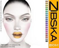 Zibska BOM Pack ~ Hel Lips in 21 colors in 2 fits with tattoo and universal tattoo BOM layers