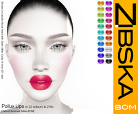 Zibska BOM Pack ~ Pollux Lips in 22 colors in 2 fits with tattoo & universal tattoo BOM layers