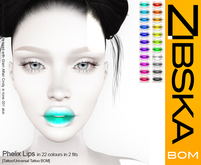 Zibska BOM Pack ~ Phelix Lips in 22 colors in 2 fits with tattoo & universal tattoo BOM layers