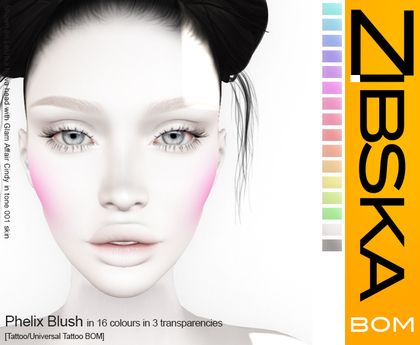 Zibska BOM Pack ~ Phelix Blush in 16 colors in 3 transparencies with tattoo and universal tattoo BOM layers