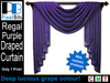 Advert   draped curtain purple