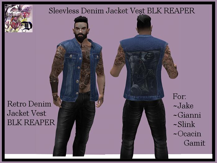 Sleevless Denim Jacket Vest BLK REAPER (ADD ME)