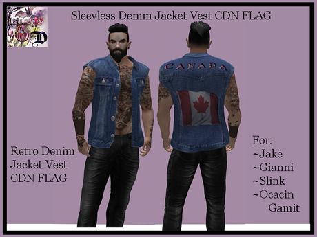 Sleevless Denim Jacket Vest CDN FLAG (ADD ME)