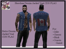 Sleevless Denim Jacket Vest CDN FLAG (ADD ME)