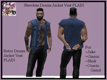 Sleevless Denim Jacket Vest PLAIN (ADD ME)